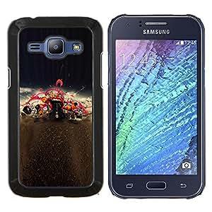KLONGSHOP // Cubierta de piel con cierre a presión Shell trasero duro de goma Protección Caso - Boca Labios rojos del beso Amor de la música de concierto - Samsung Galaxy J1 J100 //