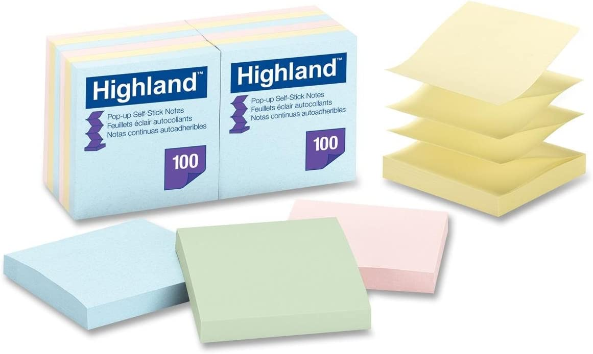 Highland 6549-PUA Pop-up Notes, 3 x 3 Inches, Assorted Pastel Colors, 12 Pack
