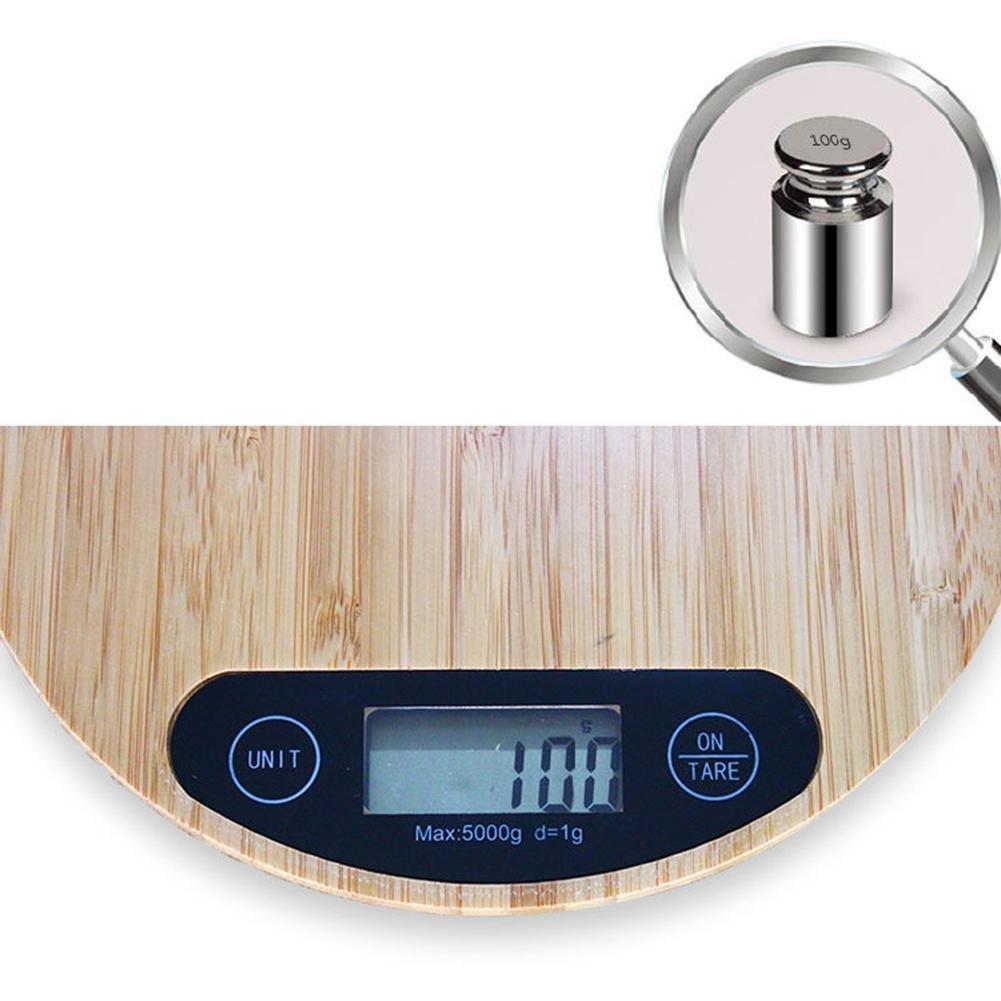 Báscula Digital para Cocina de Madera con Gran Pantalla LCD e Almohadillas Antideslizantes 5kg/11 lbs Balanza de Alimentos Multifuncional g/lb/oz: ...