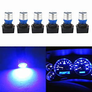 WLJH T10 Led Bulb Dashboard Car Lights Dash Instrument Panel Cluster Gauge W5W Bulb 2825 194 Led Twist Socket PC195 PC194 PC168 200 Lumens Extremely Bright(Blue,Pack of 6)