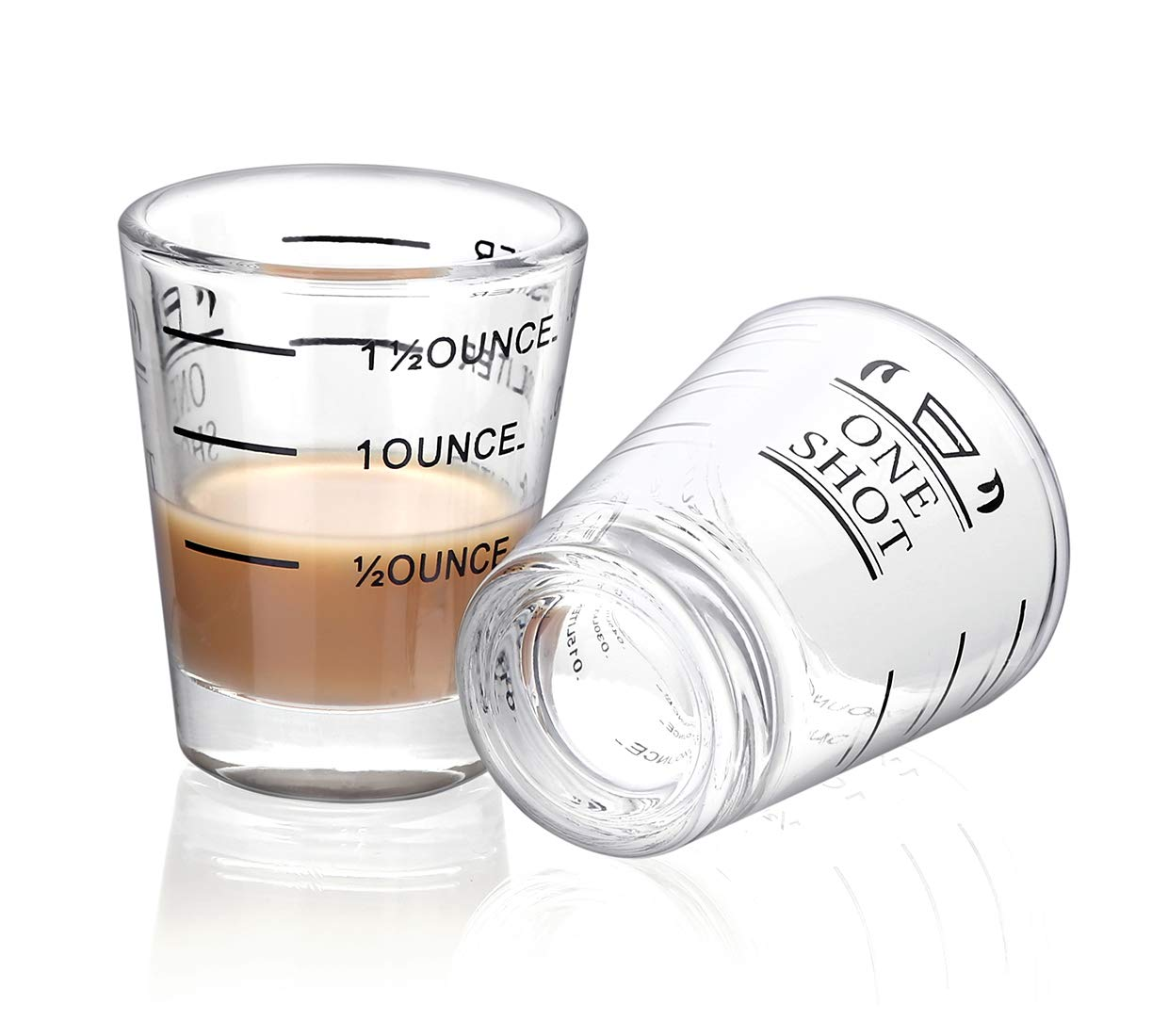 Shot Glasses Measuring cup Liquid Heavy Glass Wine Glass Espresso Shot Glass 1.5OZ/45ML (2 pack-45ml)