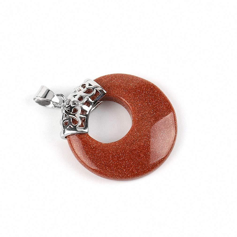 Xileg Natural Gem Stone Beads Women Men Pendants for Necklace Hollow Round Veins Onyx Crystal Tiger Eye Reiki DIY Jewellery E517