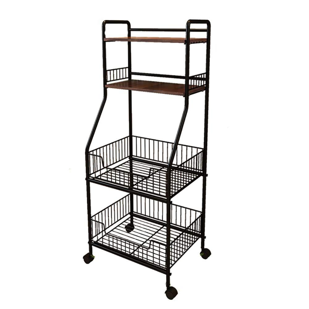 Kitchen Rack Storage Rack, Floor Multi-Layer Vegetable Seasoning Bowl Pot Storage Shelf, Multi-Function Caster(4234.5114cm)