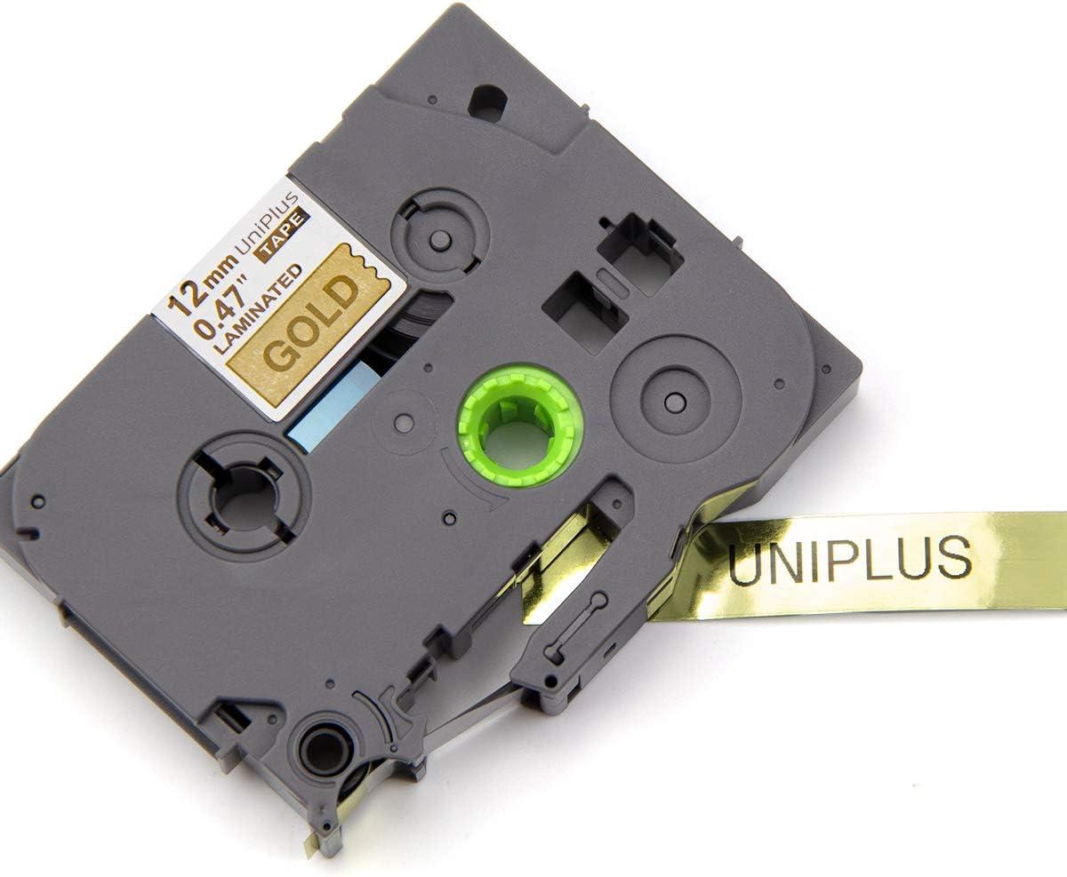 UniPlus 4x TZe-831 TZe831 Tze Tape 12mm Lamin/é Ruban Cassettes Compatible avec Brother P-Touch PT H100LB H101C P700 E100 D600VP D400VP D400 GL-H100 H105 D210 Cube /Étiqueteuse Noir sur Or 12mm x 8m