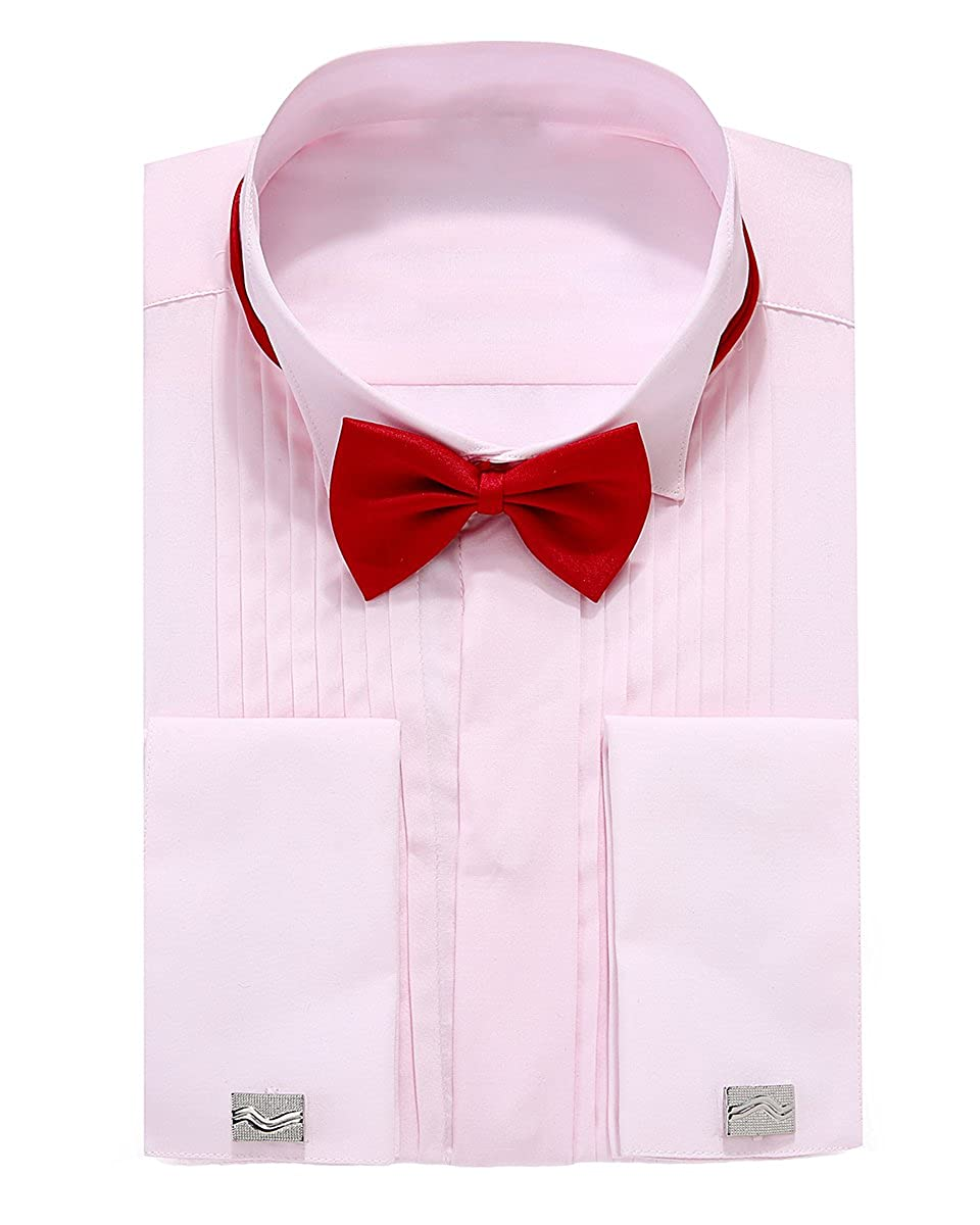 Jr Mens French Cuff Wing Collar Tuxedo Shirts With Cufflinks At