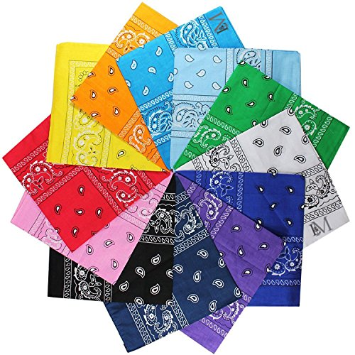 - LM 12Pcs Bandanas 100% Cotton Paisley Print Head Wrap Scarf Wristband (Multi Color)