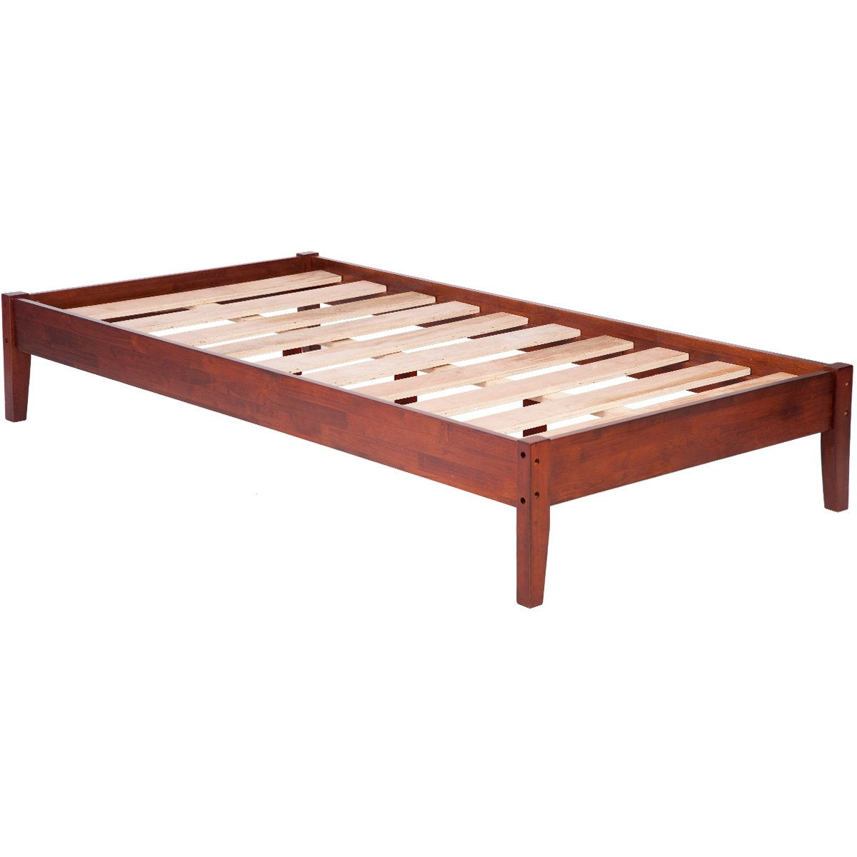 Merax Wood Platform Bed Frame Mattress Foundation with Wooden Slat Supports (Twin, Cherry)