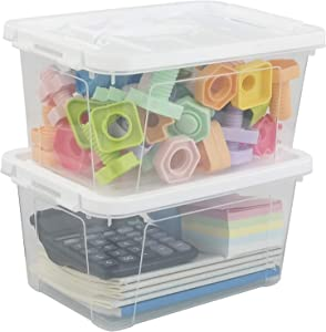 Sosody Small Clear Storage Bins with White Lids and Handles Plastic Latch Boxes, 2 Packs