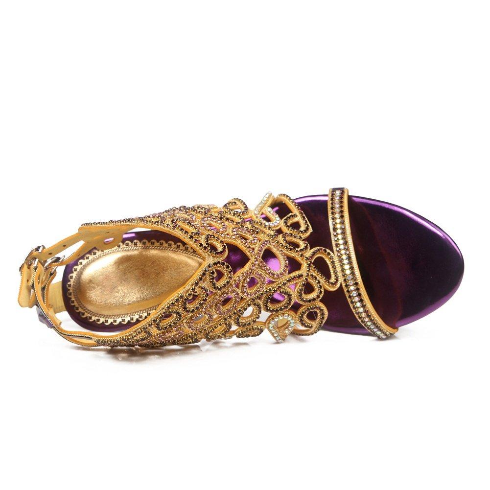 ZPL Damen Mid Niedrig High Heel Strappy Purple Diamante Party Hochzeit Prom Sandalen Schuhe Größe Purple Strappy 87f483