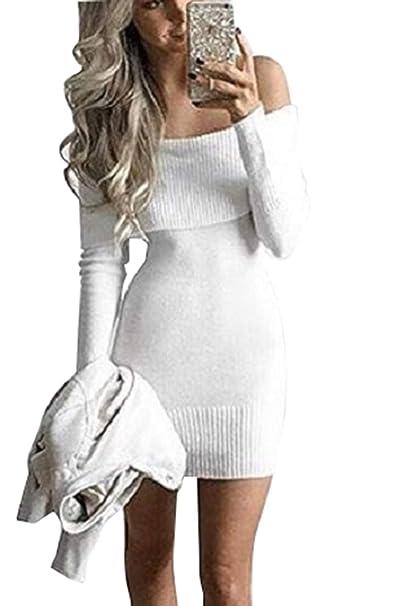 461bc2156c Zonsaoja Vestido De Suéter para Mujer Mini De Hombro Ceñido Al Cuerpo  Vestidos Blanco One Size  Amazon.es  Ropa y accesorios