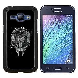 """Be-Star Único Patrón Plástico Duro Fundas Cover Cubre Hard Case Cover Para Samsung Galaxy J1 / J100 ( Enfriar el Plan Resumen Negro monocromo"""" )"""