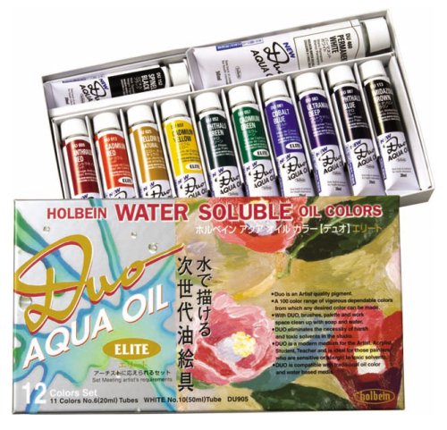 Holbein Duo Aqua Oil Color - Elite Color Set of 12 20 ml - Aqua Duo Soluble Oil Water