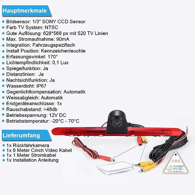 170 Weitwinkel Auto Rückfahrkamera Im 3 Bremslicht Elektronik