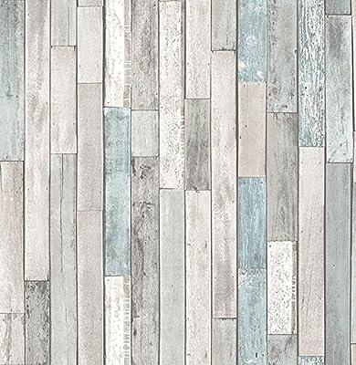 Brewster Wallcovering Co FD23273 Barn Board Grey Thin Plank Wallpaper,