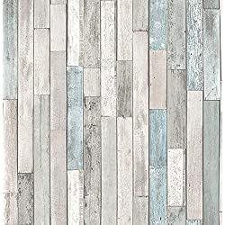 Brewster Wallcovering Co FD23273 Barn Board Grey Thin Plank Wallpaper,