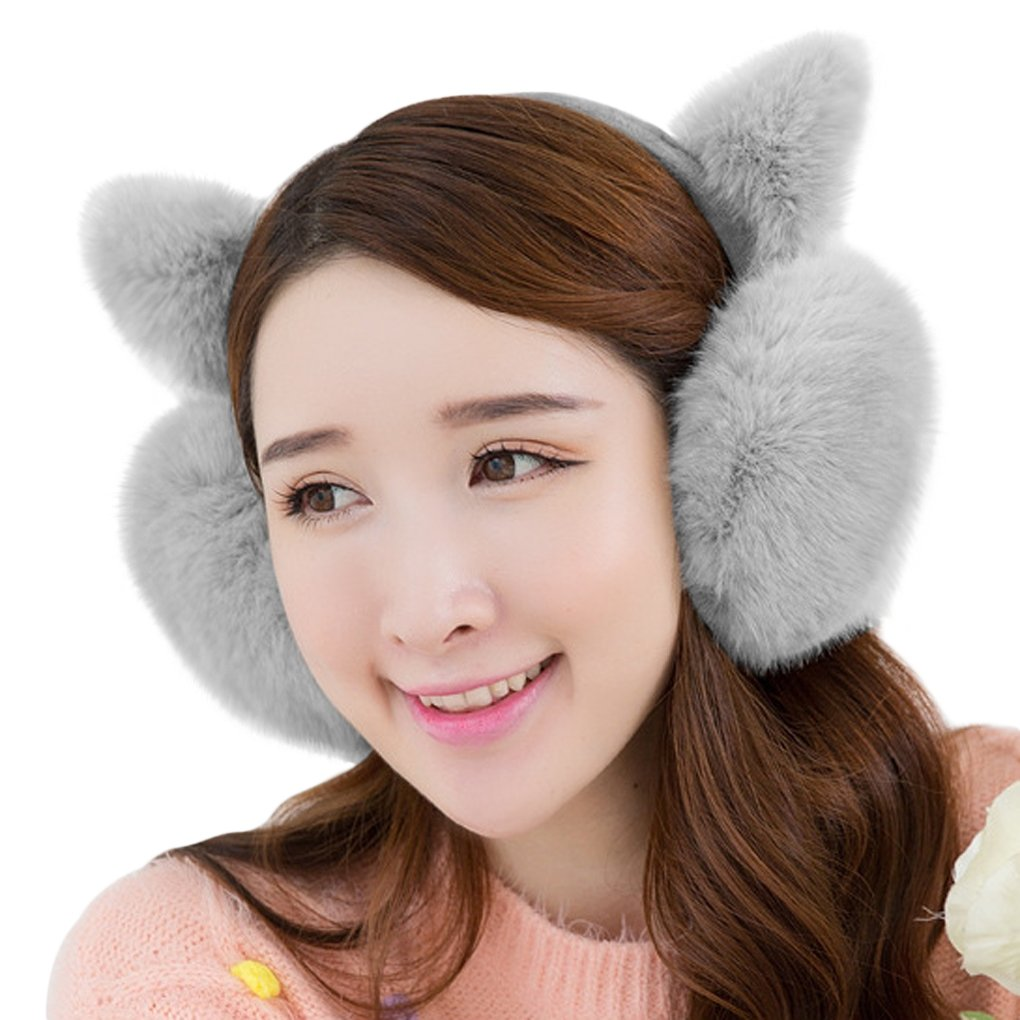 Winter Cute Cat Kitten Ear Warmer Earmuffs Faux Fur Plush Ear Cover For Girls Women
