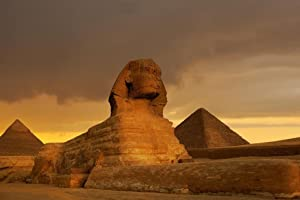 Sunset at The Sphinx and Pyramid Complex Giza Photo Photograph Cool Wall Decor Art Print Poster 36x24