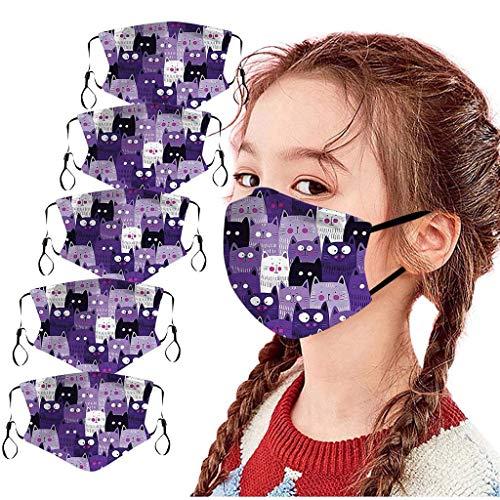 Allegorly 5 Stück Mundschutz Kinder Baumwolle Cartoon Druck Verstellbarer Hängendes Ohr, Atmungsaktive Waschbar Half Face Halstuch für Jungen und Mädchen