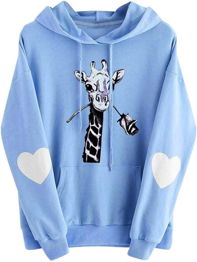 Aotifu Womens Long Sleeve Giraffe Graphic Printed Hoodie Sweatshirt Pockets Drawstring Hooded Jumper Pullover Shirt Tops
