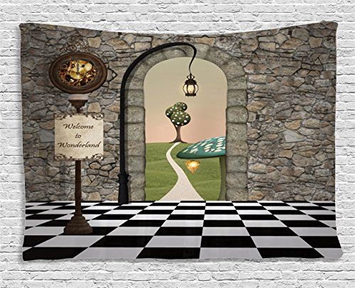 Ambesonne Alice in Wonderland Tapestry, Welcome Wonderland Black and White Floor Landscape Mushroom Lantern, Wall Hanging for Bedroom Living Room Dorm, 80 W X 60 L Inches, Black Green