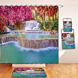 Nalahome Bath Suit: Showercurtain Bathrug Bathtowel Handtowel Waterfall Decor Rain Forest in Vietnam Laos with Asian Pink and Orange Trees side of River Image Pink