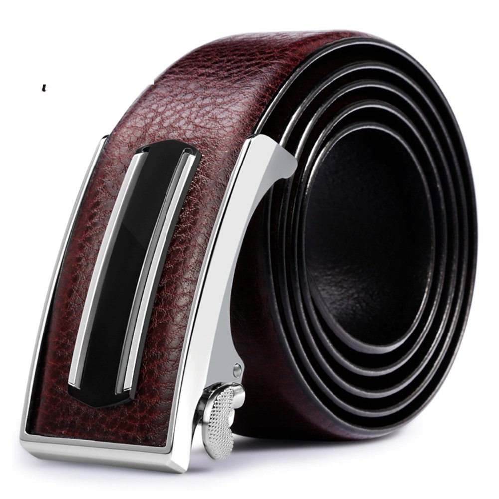 JIEJING Men's Business Belt,Automatic buckle Youth Belt wild Leisure Belt-dark brown 110cm(43inch)