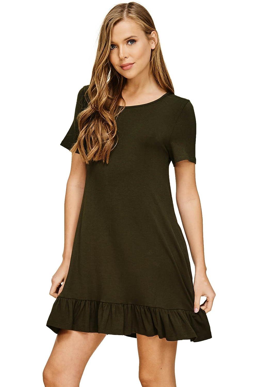 c31d762b207d Annabelle Women's Casual T Shirt Flowy Ruffle Hem Dress with Pockets S-3XL  at Amazon Women's Clothing store: