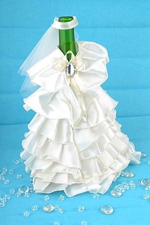 Decoracion para botella de cava vestido de novia de raso y tul ...