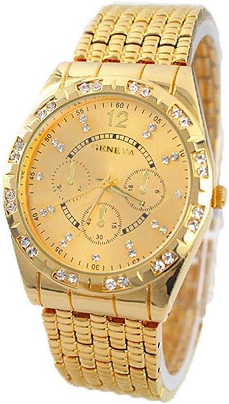 Relojes Hombre,Xinan Metal del Diamante Venda Cuarzo Analógico Reloj Pulsera (Oro): Amazon.es: Juguetes y juegos