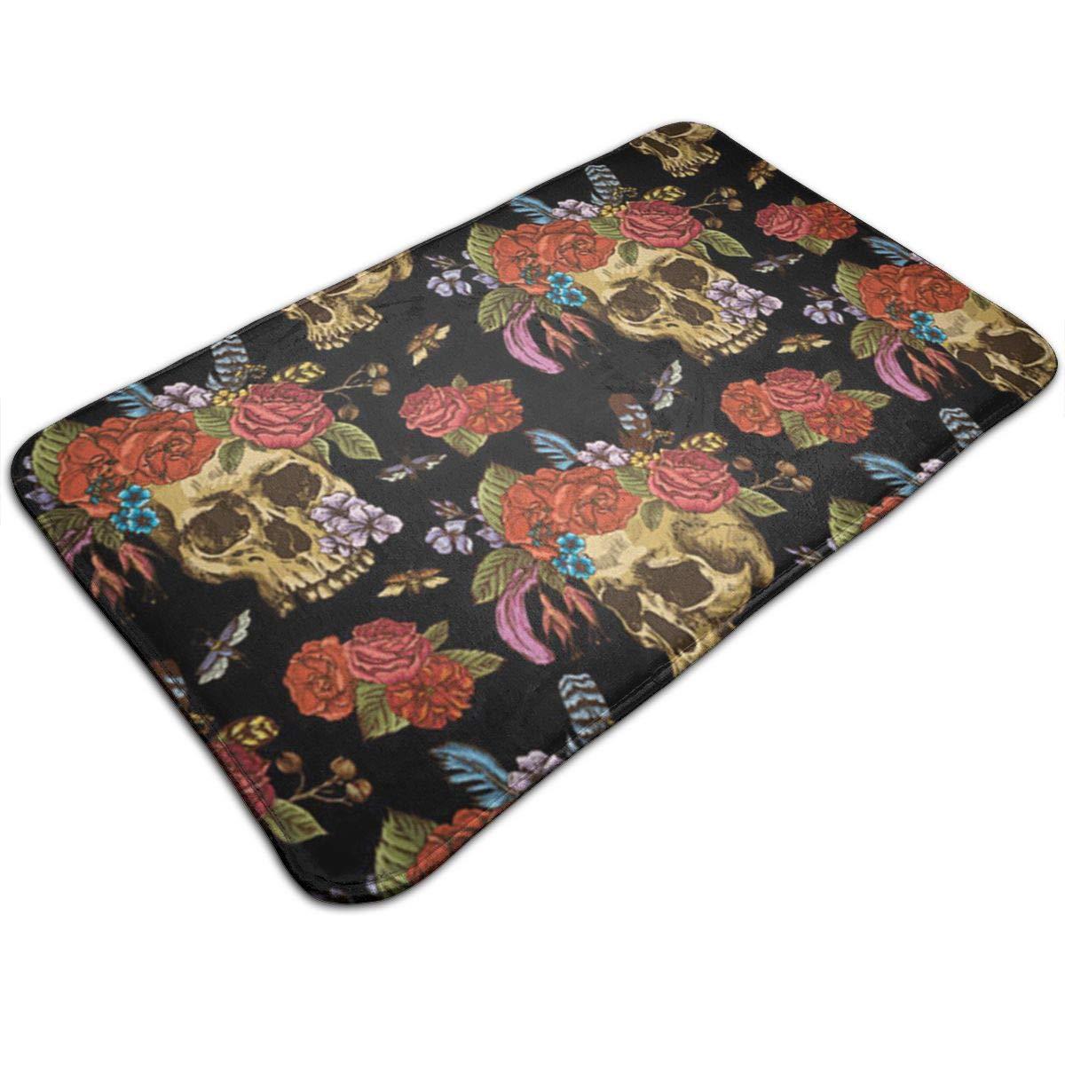 Colorful Sugar Skull with Floral Non Slip Flannel Rug Warm Carpet Bath Door Mat