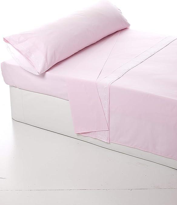 Lovetextil Juego de sábanas Rosa con puntilla Blanca. Incluye 3 Piezas (Sábana encimera+Funda de Almohada+Sábana Bajera Ajustable). Algodón/Poliester. (Cama 90 cm: Amazon.es: Hogar