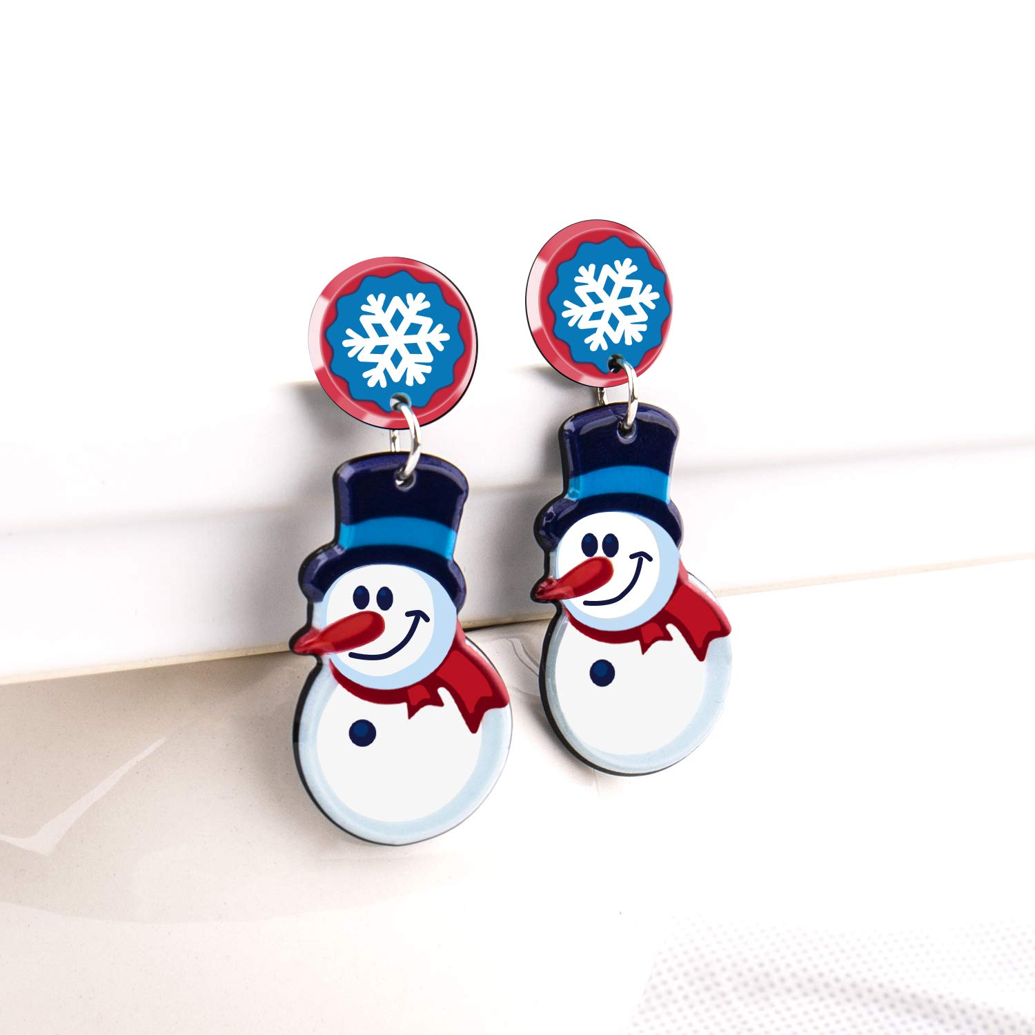 UHIBROS Women Christmas Jewelry Snow Man Dangle Drop Stud Earrings Ear Hook Drop Earring Xmas Gift For Teen Girls