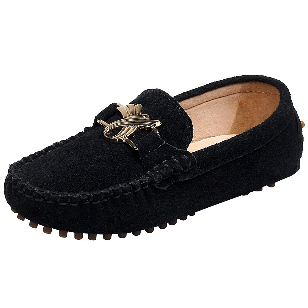 Shenn Children's Cute Buckle Black Suede Leather Loafers Shoes 88819(Black,4.5 M US Big Kid)