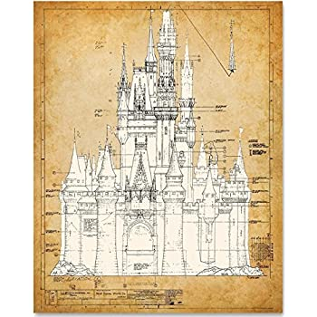 Amazon.com: Dignovel Studios 13X19 Cartoon Castle Watercolor ...