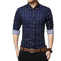GOMY Men's Dress Shirt Cotton Long Sleeve Plaid Casual Regular Slim Fit Button Down Dress Shirt