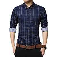 GOMY Men's Dress Shirt Cotton Long Sleeve Plaid Casual Regular Slim Fit Button Down Dress Shirt