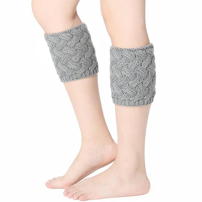 Mujer Ganchillo calentador de piernas una botón arranque calcetines Topper puño gris Style B:Grey