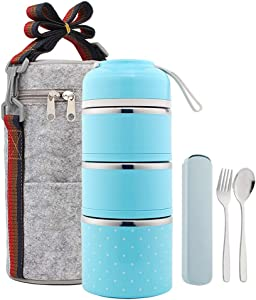 YBOBK HOME Bento Lunch Box Leakproof Stainless Steel Stackable Lunch Box with Bag and Reusable Flatware Set Thermal Food Storage Container for Healthy On-the-Go Meal and Snack Packing (3-Tier, Blue)