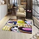 Spa Door Mats for home Spa Organic Cosmetics Theme Wooden Bowl Petals Lavender Candle Pebbles Therapy Oil Bath Mat for tub Bathroom Mat 18''x30'' Purple Brown