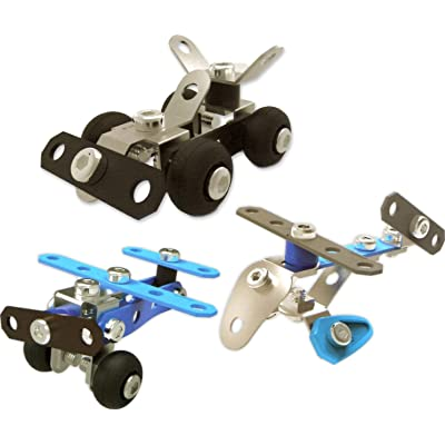 Miniature Erector Sets by Meccano Stocking Stuffers (Bundle of 3 Car, Plane, Helicopter): Toys & Games