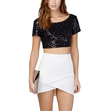 926da1631a4 Women Sequin Crop top Short Sleeve Glitter Sparkle Sequin Backless Crop Tops  T-Shirt Blouse