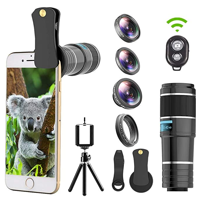 Cell Phone Camera Lens, 5 in 1 Telephoto Lens Kit, 12x Telephoto  Lens+Fisheye Lens+0 65x Wide Angle Lens+Macro Lens+Star Filter Lens,  Tripod+Remote