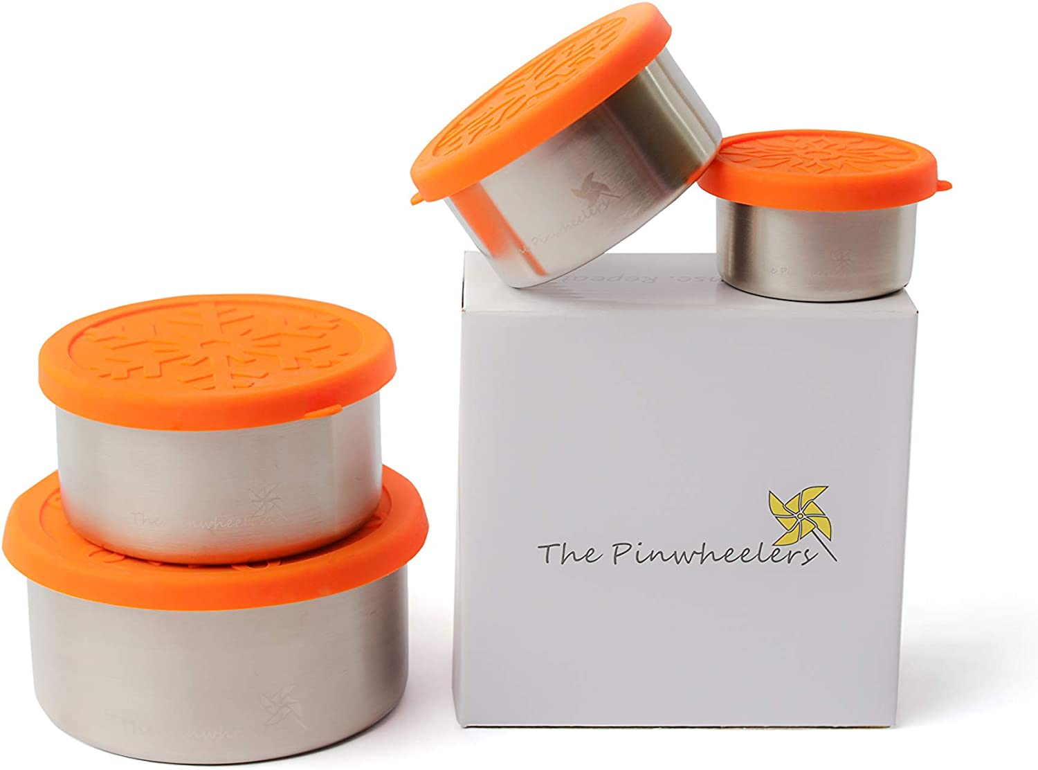 The Pinwheelers Nestable Quad | Stackable Stainless Steel Food Storage Containers | Set of 4 with 100% Leakproof Silicone Lids | Portable, Reusable, EcoFriendly, Plastic Free (Orange Lid)