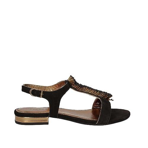 APEPAZZA CARYA Sandalo Camoscio Nero Tacco 2 cm decoro (39) a556h1g