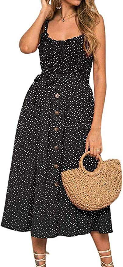 Women Summer Sleeveless Polka Dot Beach Dress Stretch Holiday Party Sundress