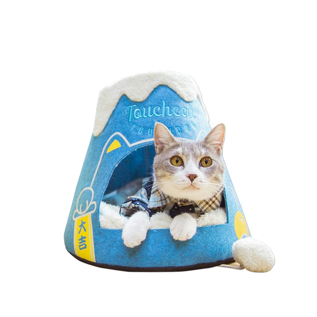 bluee S bluee S TLTLCWW Cat Bed, Semi-closed Four Seasons Available Pet Bed Cat Dog Universal Pet Mat, Multi-color Optional (color   bluee, Size   S)