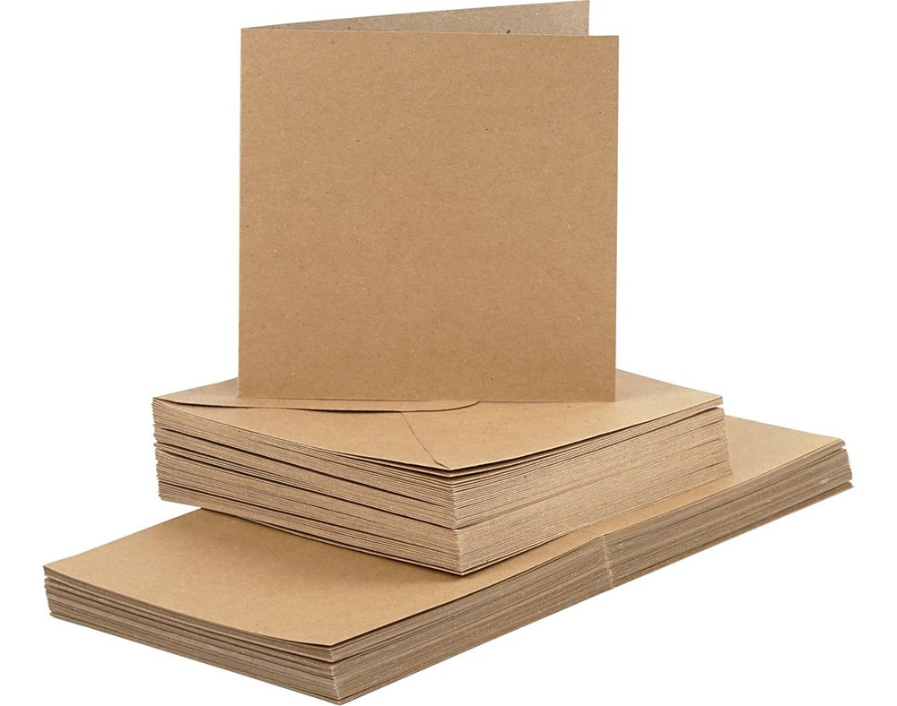 50 Natural 15cm Square Cards and Envelopes - Card Making Crafts Crafty Capers
