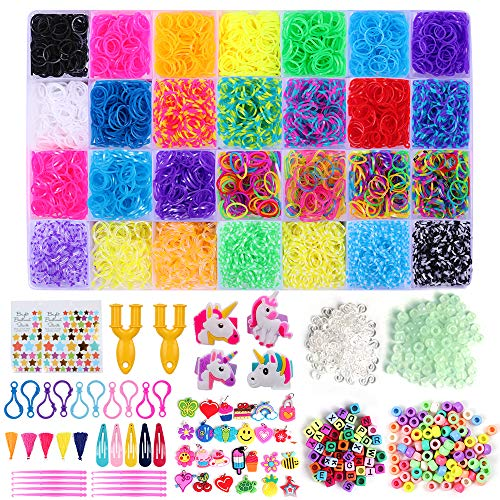 HanShe 11500+ Rubber Loom Bands Rainbow Rubber Bands Loom Bands kit for Bracelet Loom Bands Refill Including 600 Clips 200 Beads 90+ Luminous Beads 52 ABC Beads 25 Charms 10 Backpack Hooks ()
