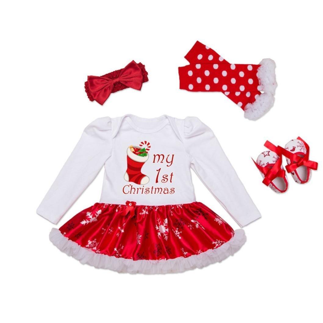 FANYINN Baby Girls Christmas Romper Tutu Dress Outfit Headband Leg Warmer Shoes