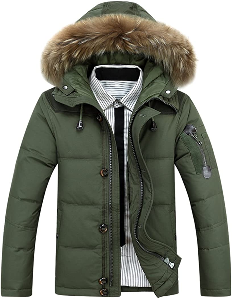 Real Spark Mens Winter Warm Fur Hooded Duck Down Quilted Padded Puffer Jacket Coat